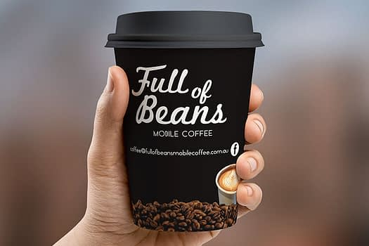 Full of Beans Rockhampton | Coffee Cup Graphic Design