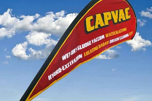 Capvac Rockhampton   Teardrop Banner Graphic Design