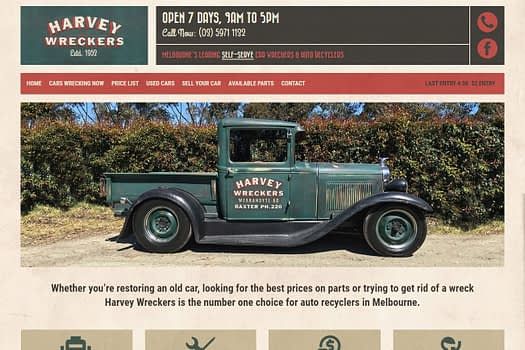 Harvey Wreckers Melbourne | Website Design